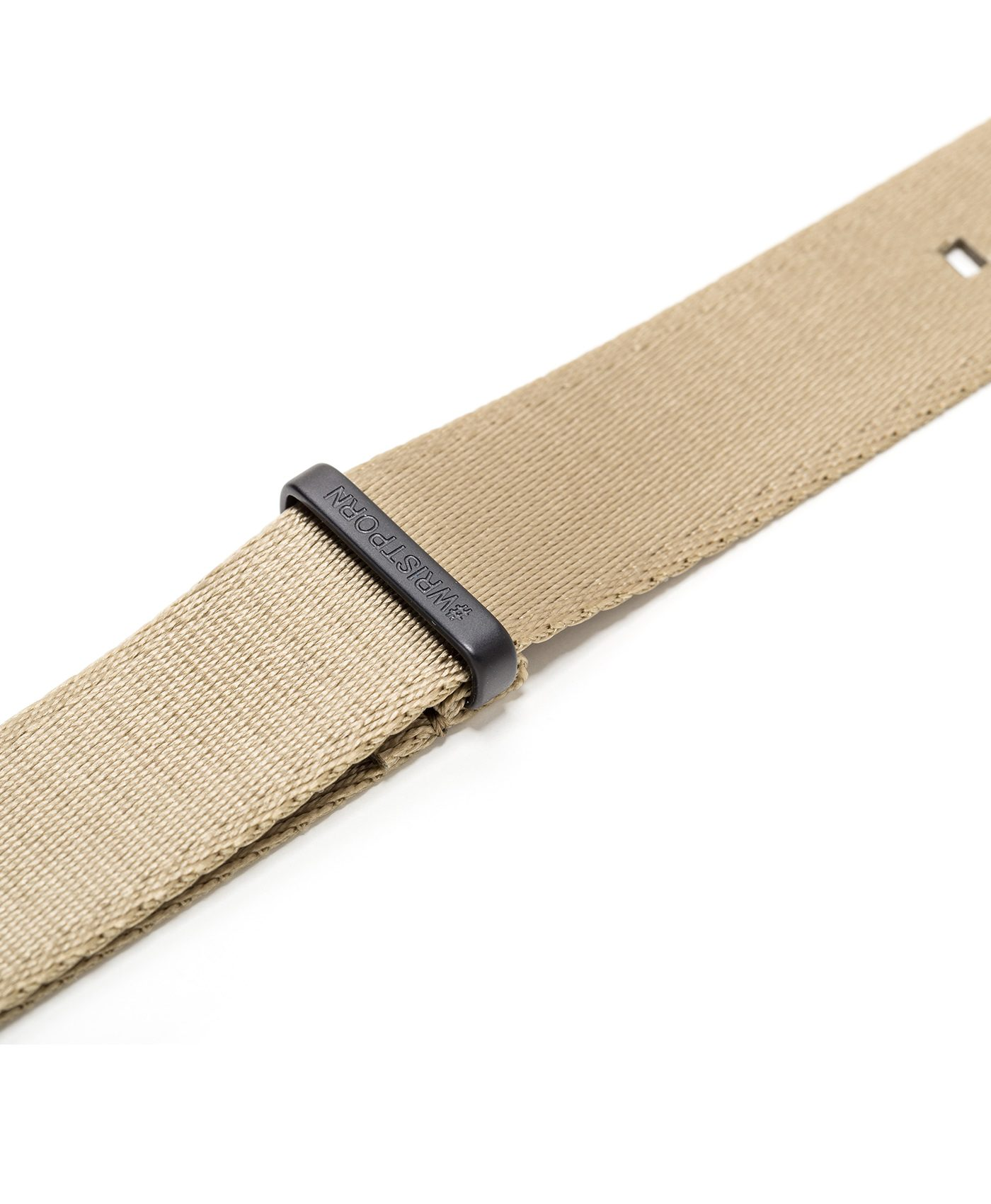Watchbandit WB original Wristporn Nato strap in beige black buckle close up