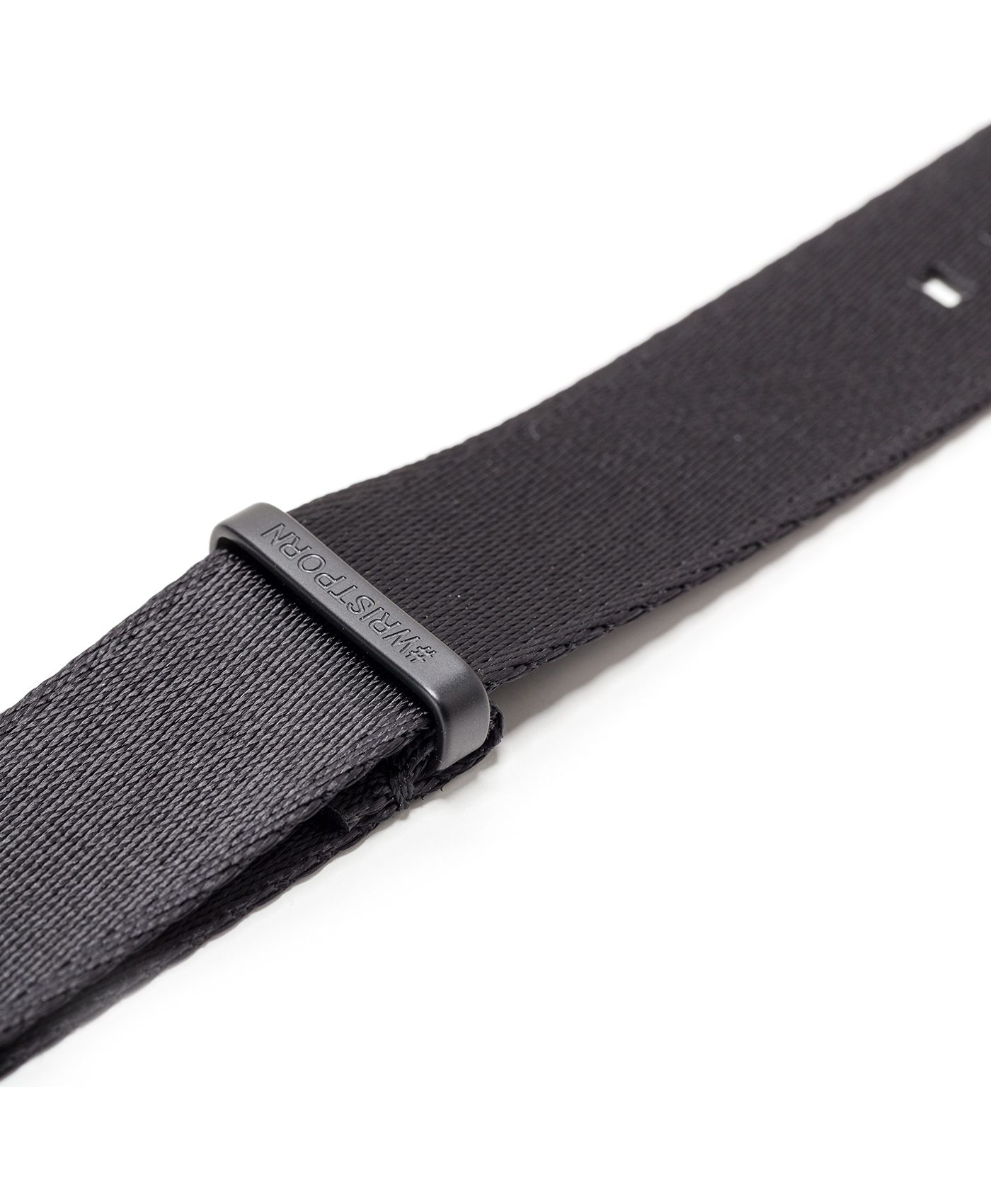 Watchbandit WB original Wristporn Nato strap in black with black buckle close up
