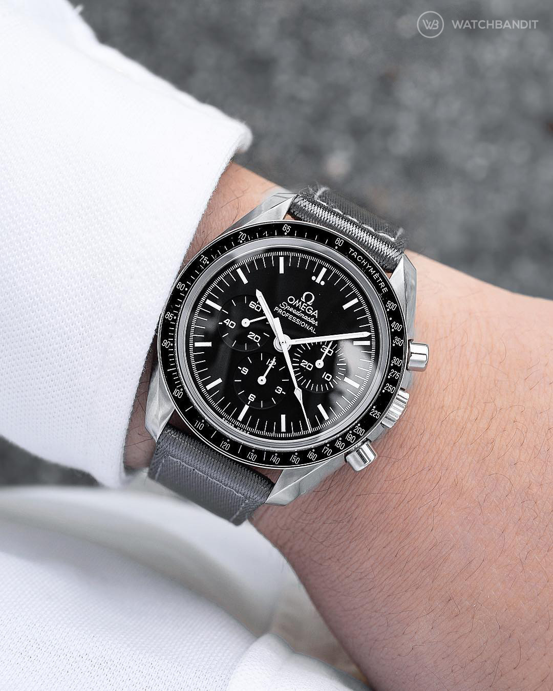 Omega Speedmaster on grey two-piece WB Original NATO by @gulenissen