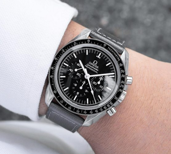 Omega Speedmaster on grey WB Original two piece NATO strap by @Gulenissen