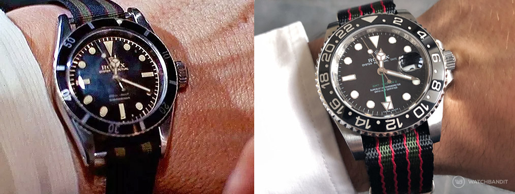 James Bond Nato strap Rolex 6538 and GMT Master