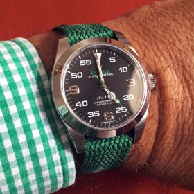 Rolex Air King green WB Original perlon strap wristshot