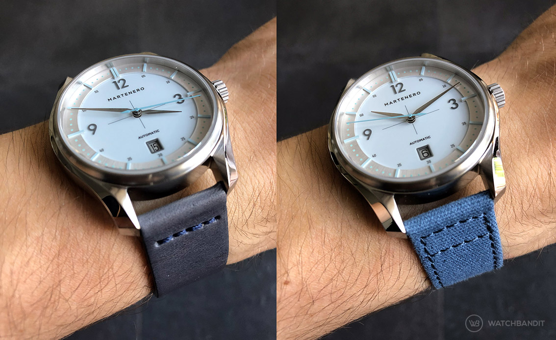 Martenero Kerrison Silver on blue canvas strap by Watchbandit wristshot