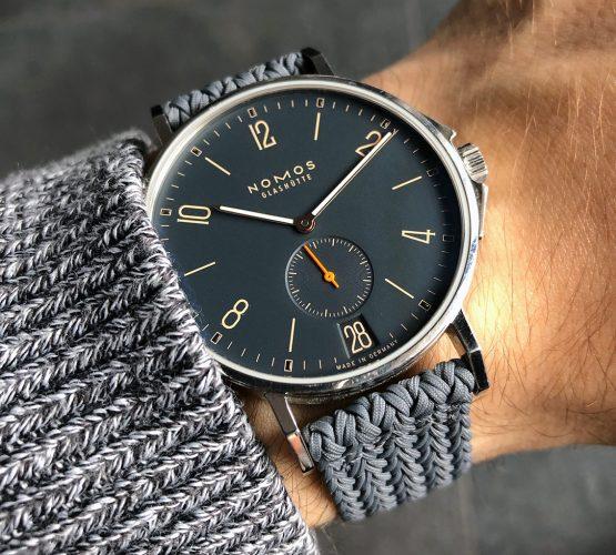NOMOS Ahoi grey Eulit perlon strap wristshot