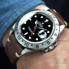 Rolex Explorer II WB dark brown original vintage leather wristshot