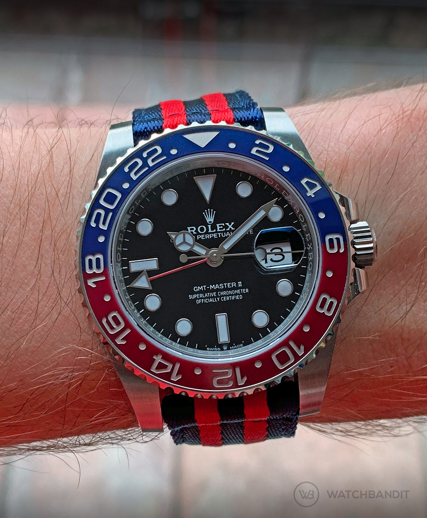 Rolex GMT Master II 126710BLRO Pepsi on Blue & Red two piece NATO Strap by Watchbandit