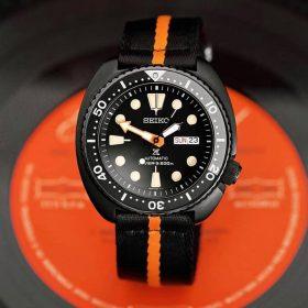 Seiko Turtle PVD Black Orange two piece NATO strap by @tempusx