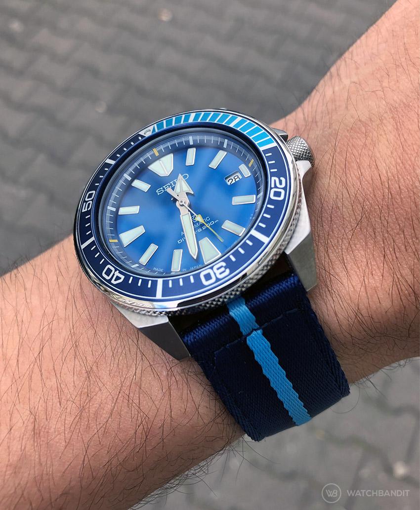 Seiko Prospex Blue Lagoon on Blue Sky Blue two piece NATO Strap by Watchbandit