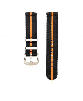 Orange Black striped two piece NATO Strap by Watchbandit