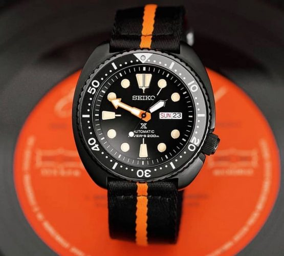 Seiko Turtle PVD Black Orange two piece NATO strap by @tempusx