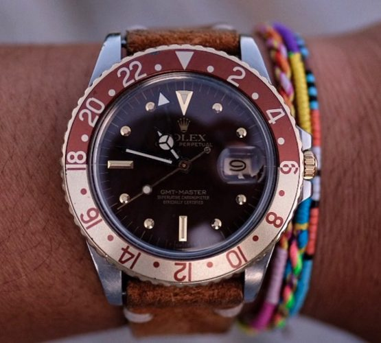 Rolex GMT Master II vintage nipple dial gold wristshot on watchbandit brown suede strap