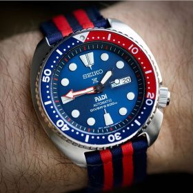 Seiko Padi Turtle Prospex on Blue/Red two piece NATO by @the.realwatchman