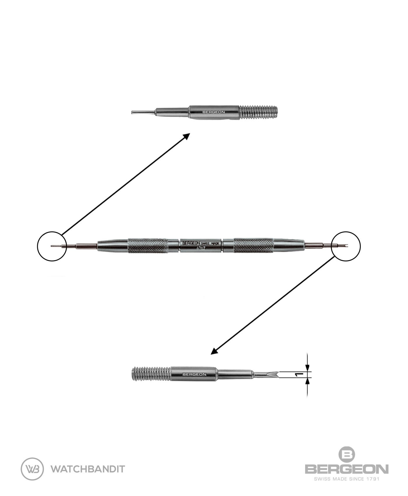 Bergeon 6767-F Swiss Made Spring Bar Tool 1 mm fork for Rolex Details