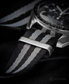 Engraved hardware of the Wristporn Trilogy NATO straps