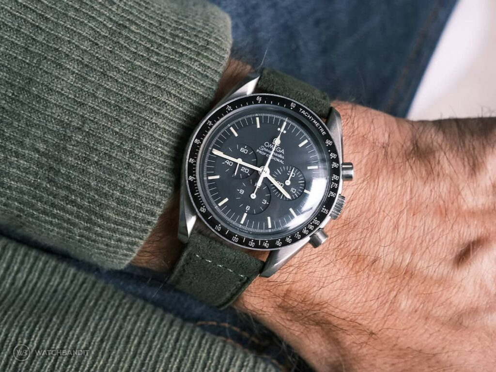 Omega Speedmaster-Classic Suede leather strap side stitching green-title picture