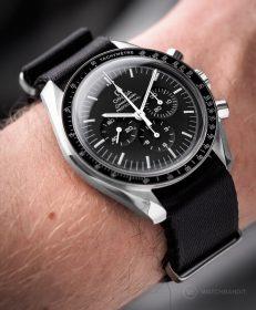 Omega Speedmaster on black premium NATO band by Watchbandit