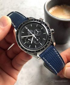 Omega Speedmaster Professional Strap on textured calfskin leather strap Night Blue