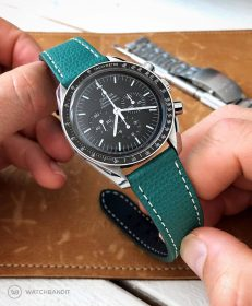 Omega Speedmaster Professional Strap on textured calfskin leather strap Petrol Green