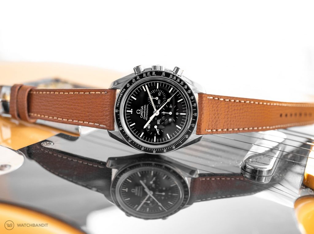 Omega Speedmaster Professional paired with a tanned textured calfskin leather strap by WB Original