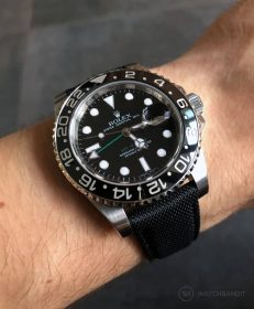 Black WB original Sailcloth strap on a Rolex GMT Master II 116710LN