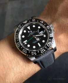 Rolex GMT Master II 116710LN on grey WB original Cordura® strap