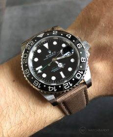 Khaki WB original Sailcloth strap on a Rolex GMT Master II 116710LN