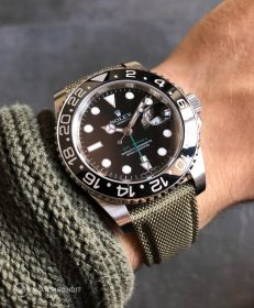 Green WB original Sailcloth strap on a Rolex GMT Master II 116710LN