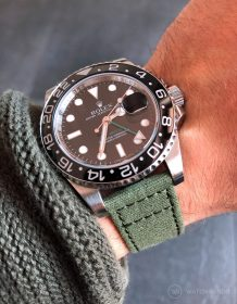 Rolex GMT Master II on green canvas strap by Watchbandit