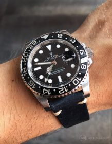Rolex GMT Master II 116710LN on blue vintage leather strap by WatchBandit