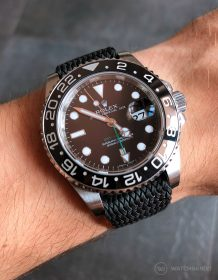 Rolex GMT-Master II 116710LN on black perlon strap by WatchBandit