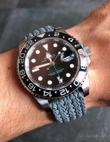 Rolex GMT-Master II 116710LN on grey two piece Eulit perlon strap by WatchBandit