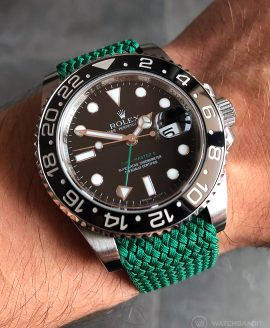 Rolex GMT-Master II 116710LN on green perlon strap by WatchBandit