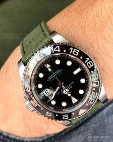 Rolex GMT Master II green Canvas strap pocket shot