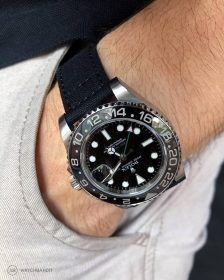 Rolex GMT Master II black Canvas strap pocket shot