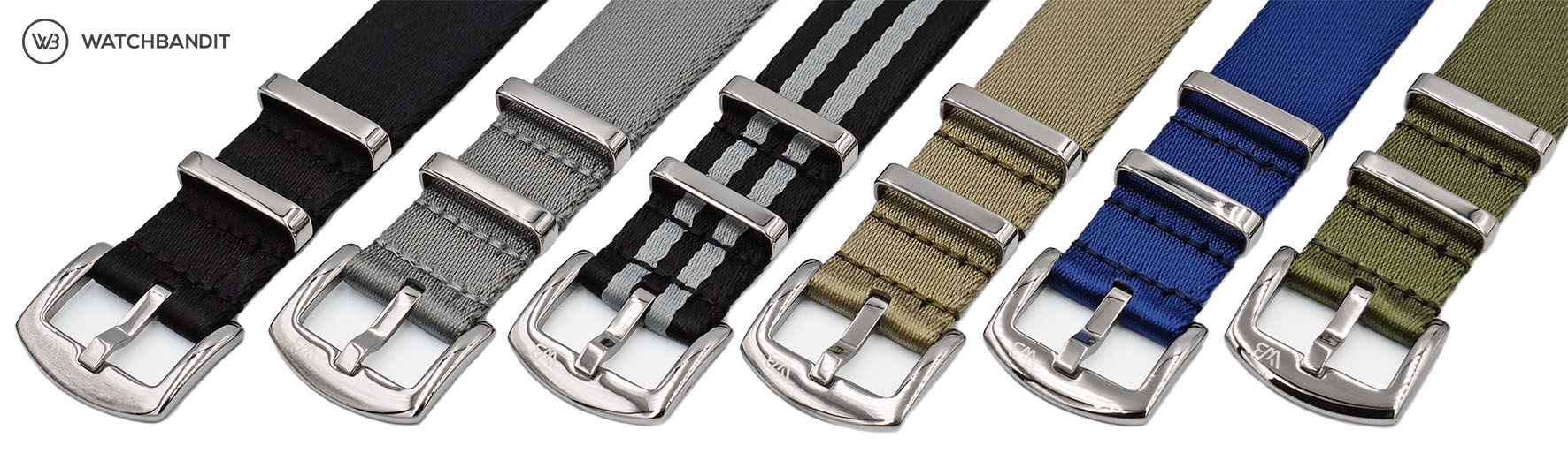 Premium 1.2 mm seat belt polished NATO Strap collection by WatchBandit Banner
