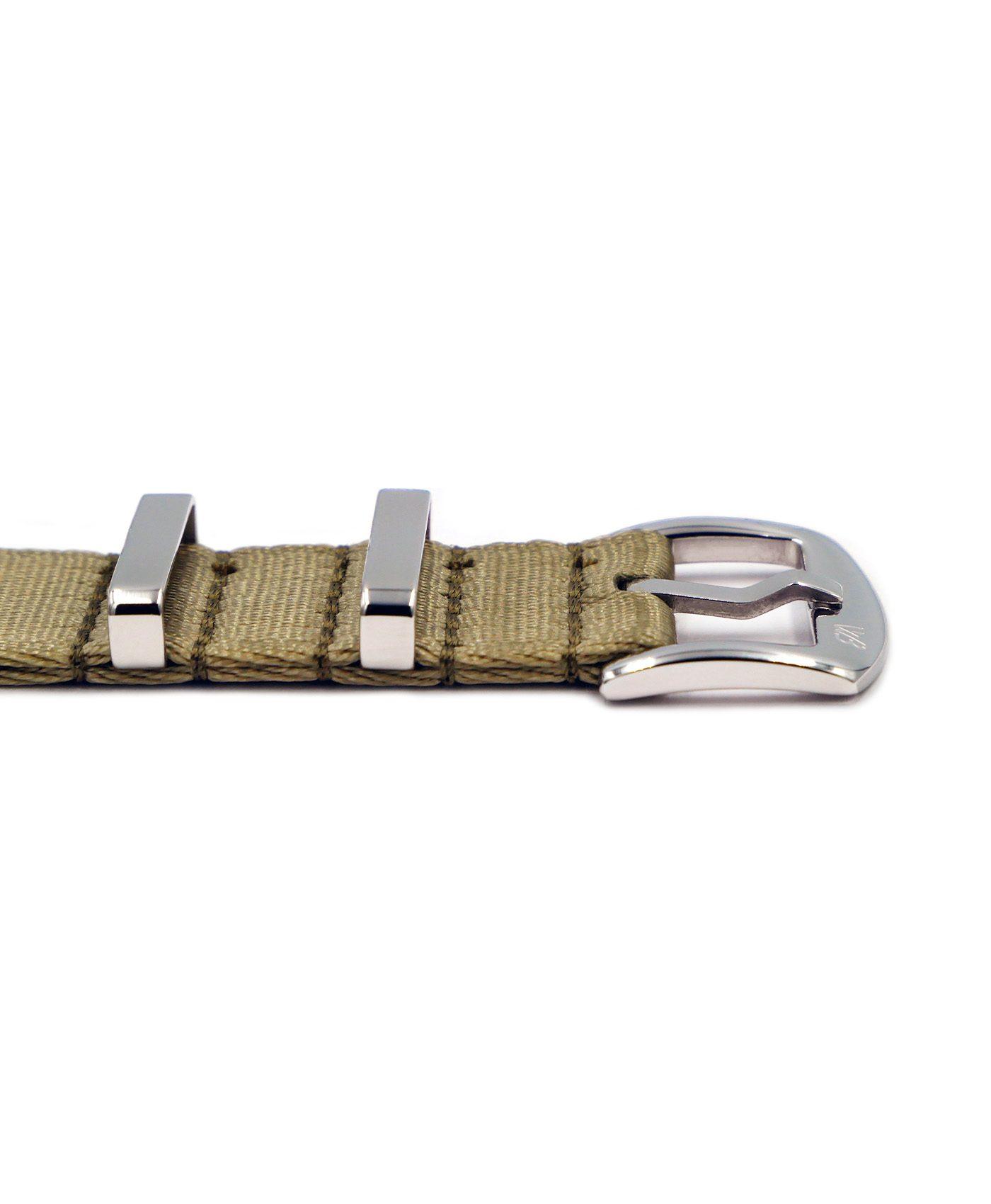 Premium 1.2 mm seat belt NATO polished Strap beige buckle by WatchBandit