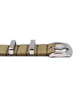 Premium 1.2 mm seat belt NATO polished Strap beige buckle by WatchBandit