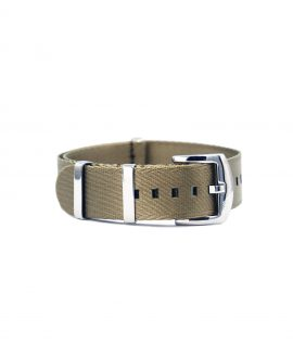 Premium 1.2 mm seat belt polished NATO Strap beige front by WatchBandit
