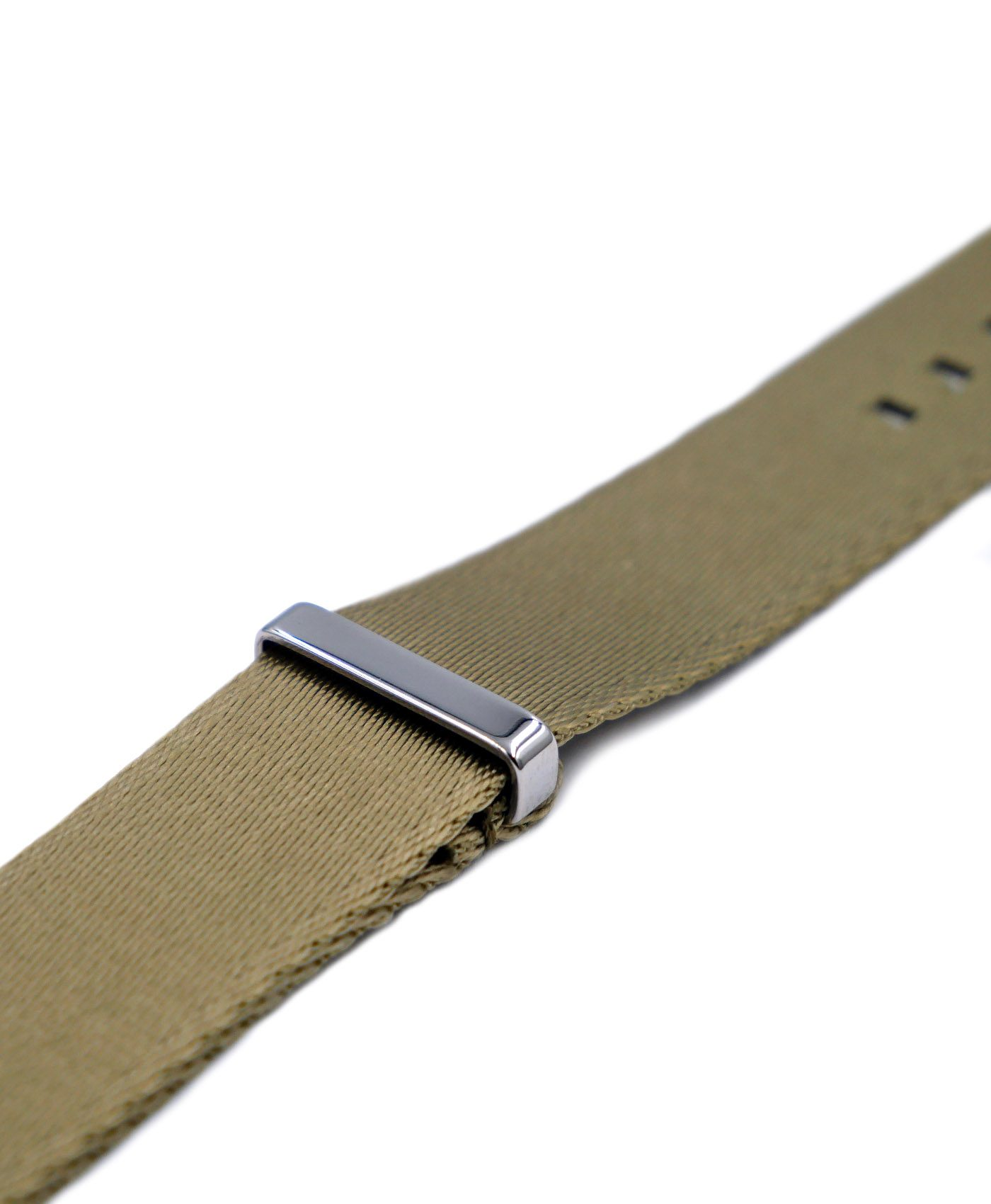 Premium 1.2 mm seat belt polished NATO Strap beige side by WatchBandit