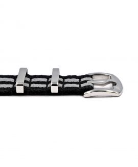 Premium 1.2 mm seat belt polished NATO Strap black grey striped buckle by WatchBandit