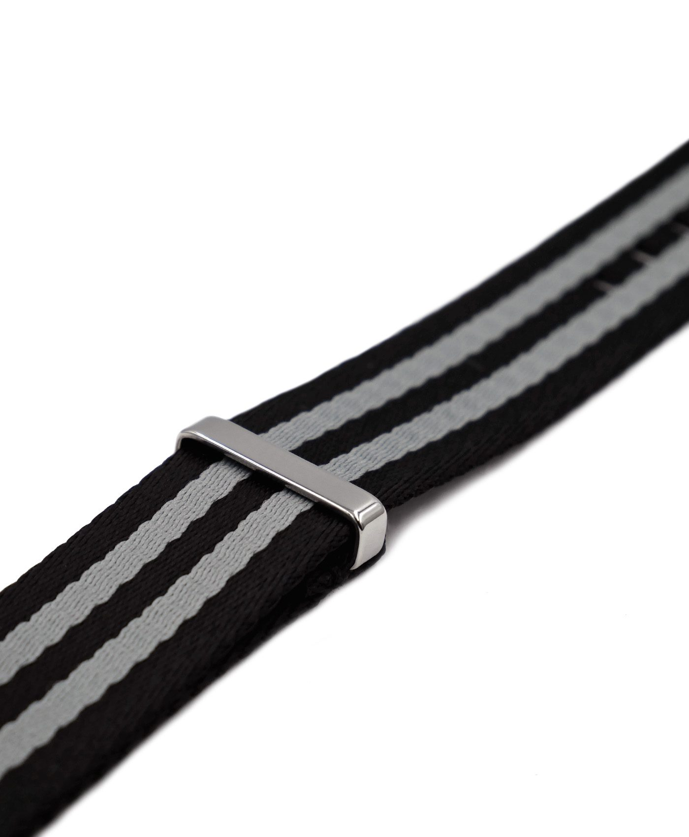 Premium 1.2 mm seat belt polished NATO Strap black grey striped side by WatchBandit