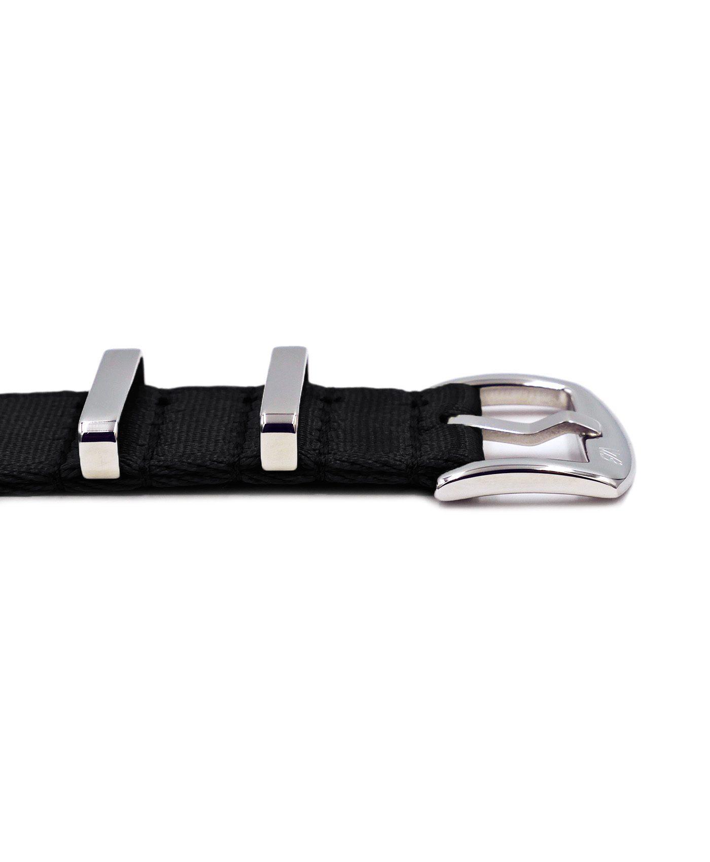 Premium 1.2 mm seat belt polished NATO Strap black buckle by WatchBandit