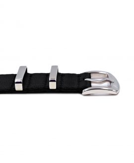 Premium 1.2 mm seat belt polished NATO Strap black buckle by WatchBandit