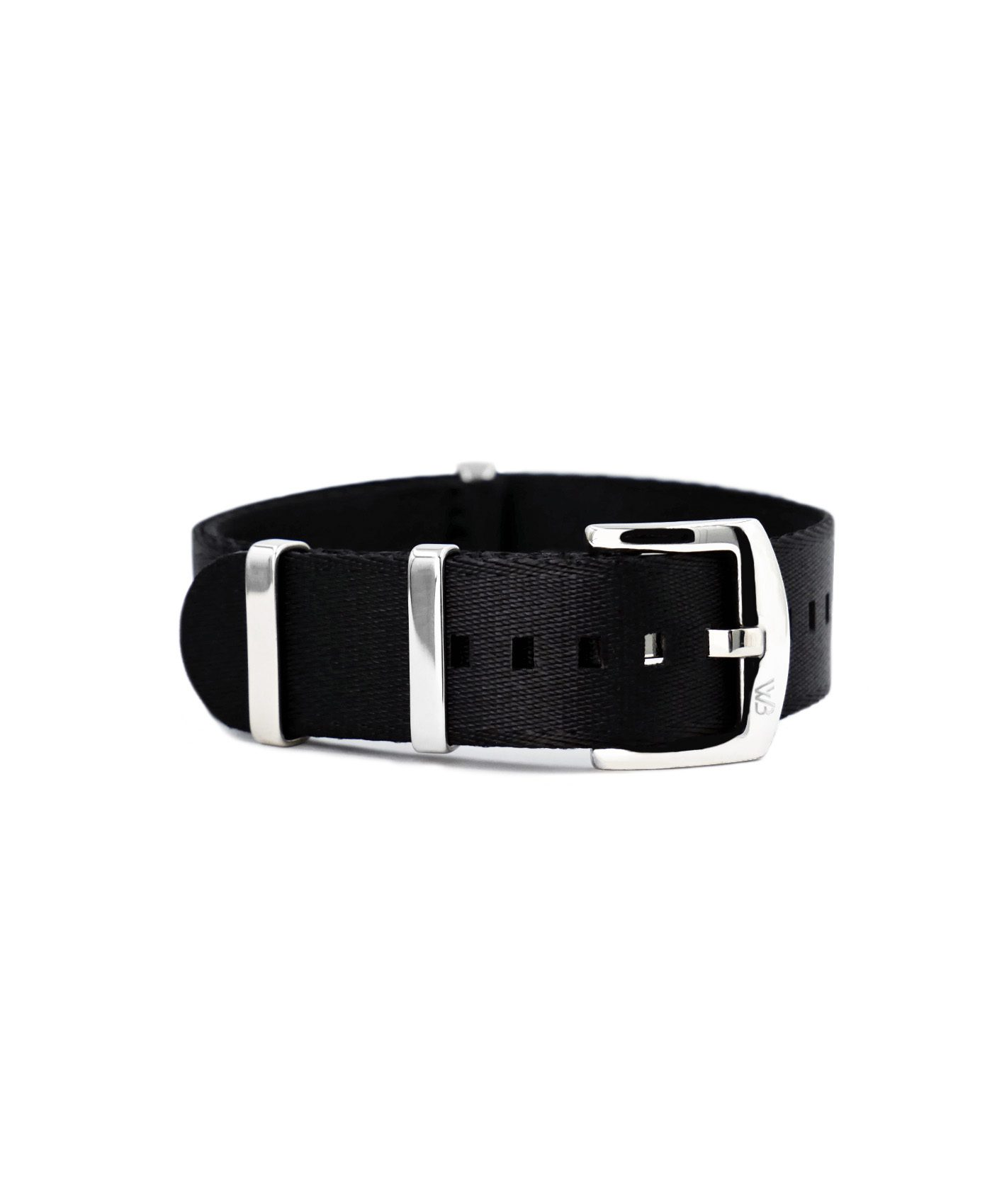 Premium 1.2 mm seat belt polished NATO Strap black front by WatchBandit