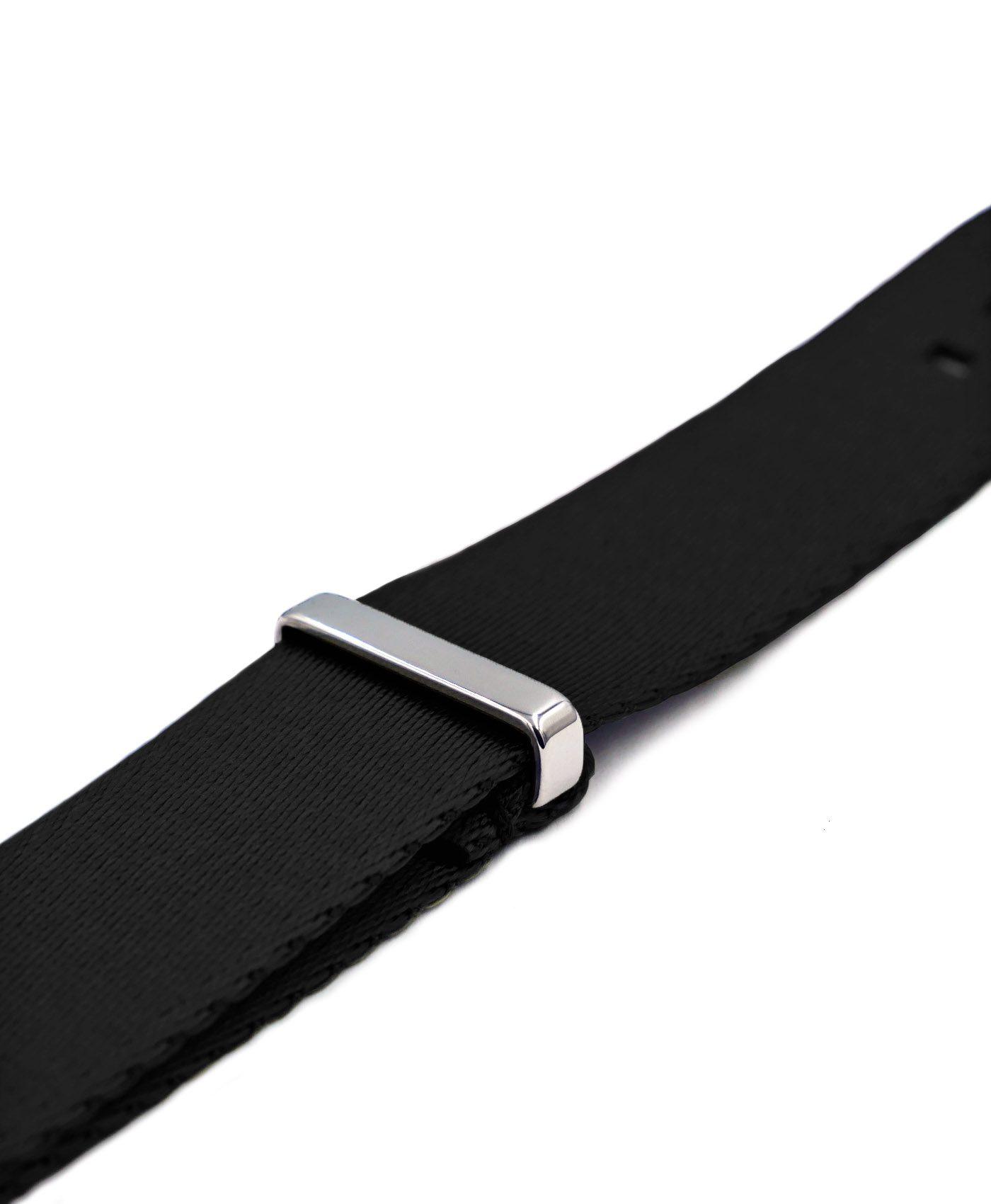 Premium 1.2 mm seat belt polished NATO Strap black side by WatchBandit
