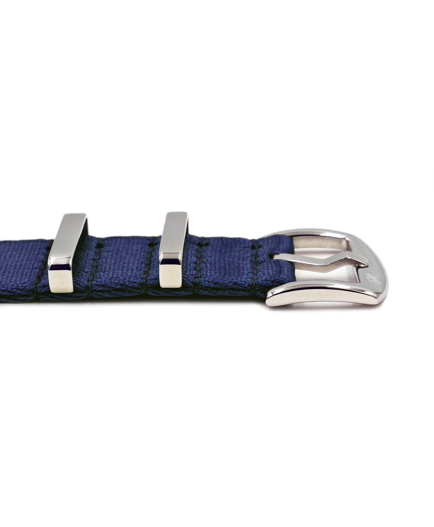 Premium 1.2 mm seat belt polished NATO Strap blue buckle by WatchBandit