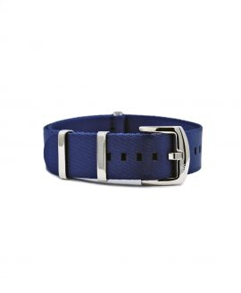 Premium 1.2 mm seat belt polished NATO Strap blue front by WatchBandit