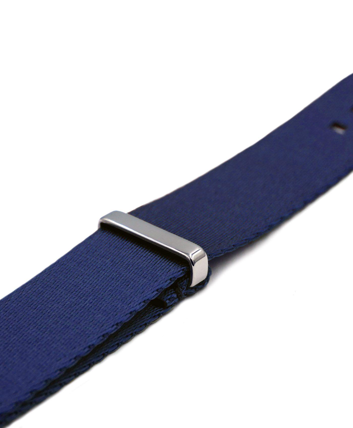 Premium 1.2 mm seat belt polished NATO Strap blue side by WatchBandit