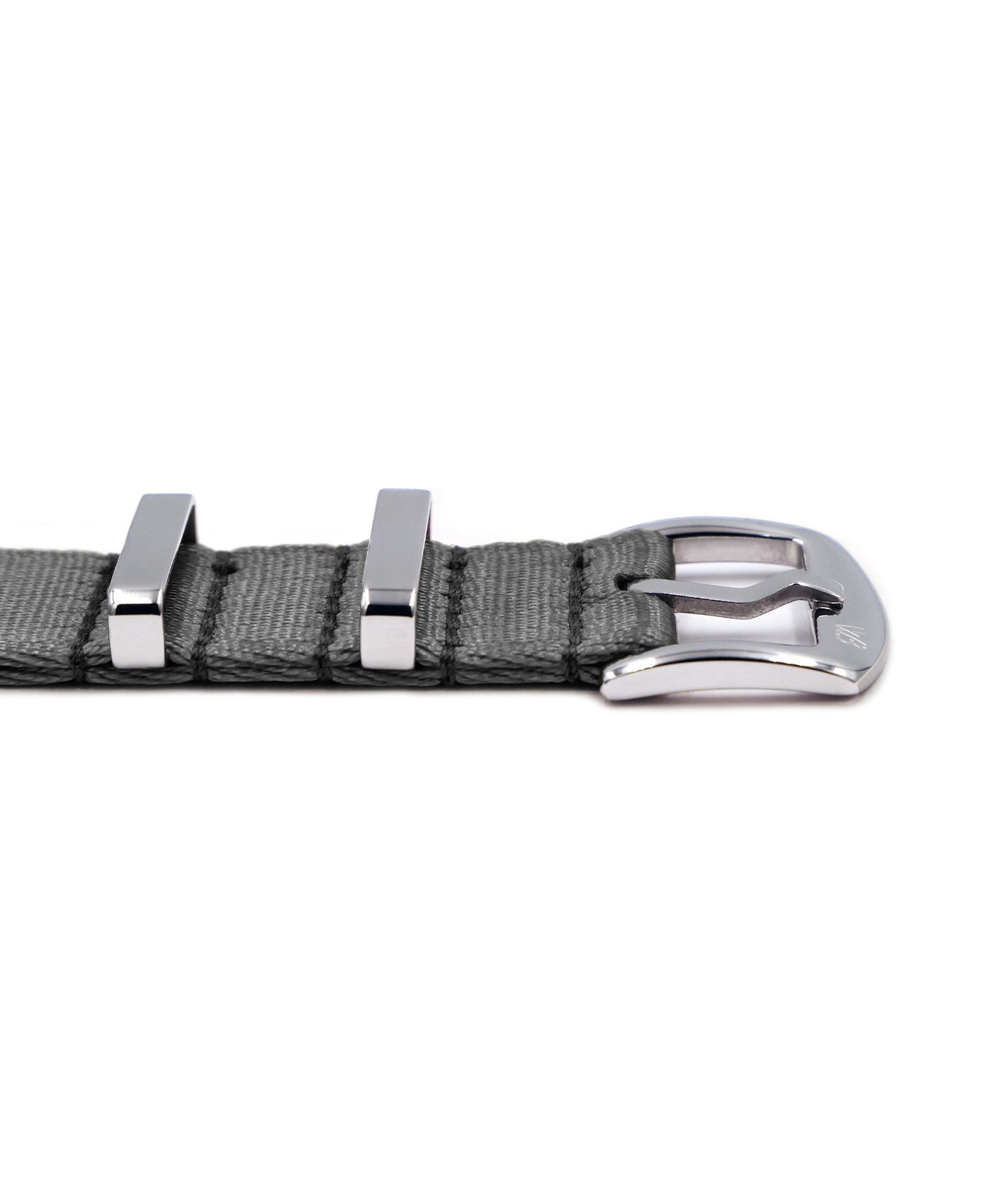 Premium 1.2 mm seat belt polished NATO Strap grey buckle by WatchBandit