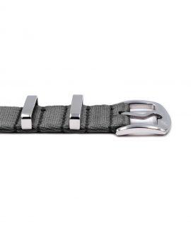 Premium 1.2 mm seat belt polished NATO Strap grey buckle by WatchBandit